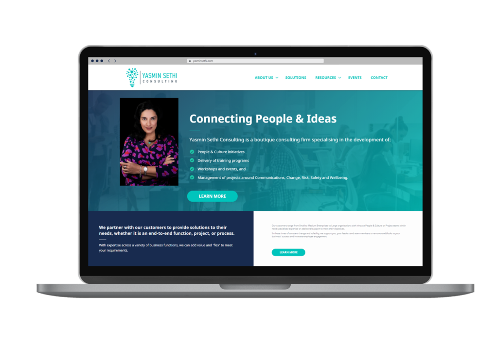 Yasmin Sethi Consulting Laptop Layout Website By Rouge Web Design